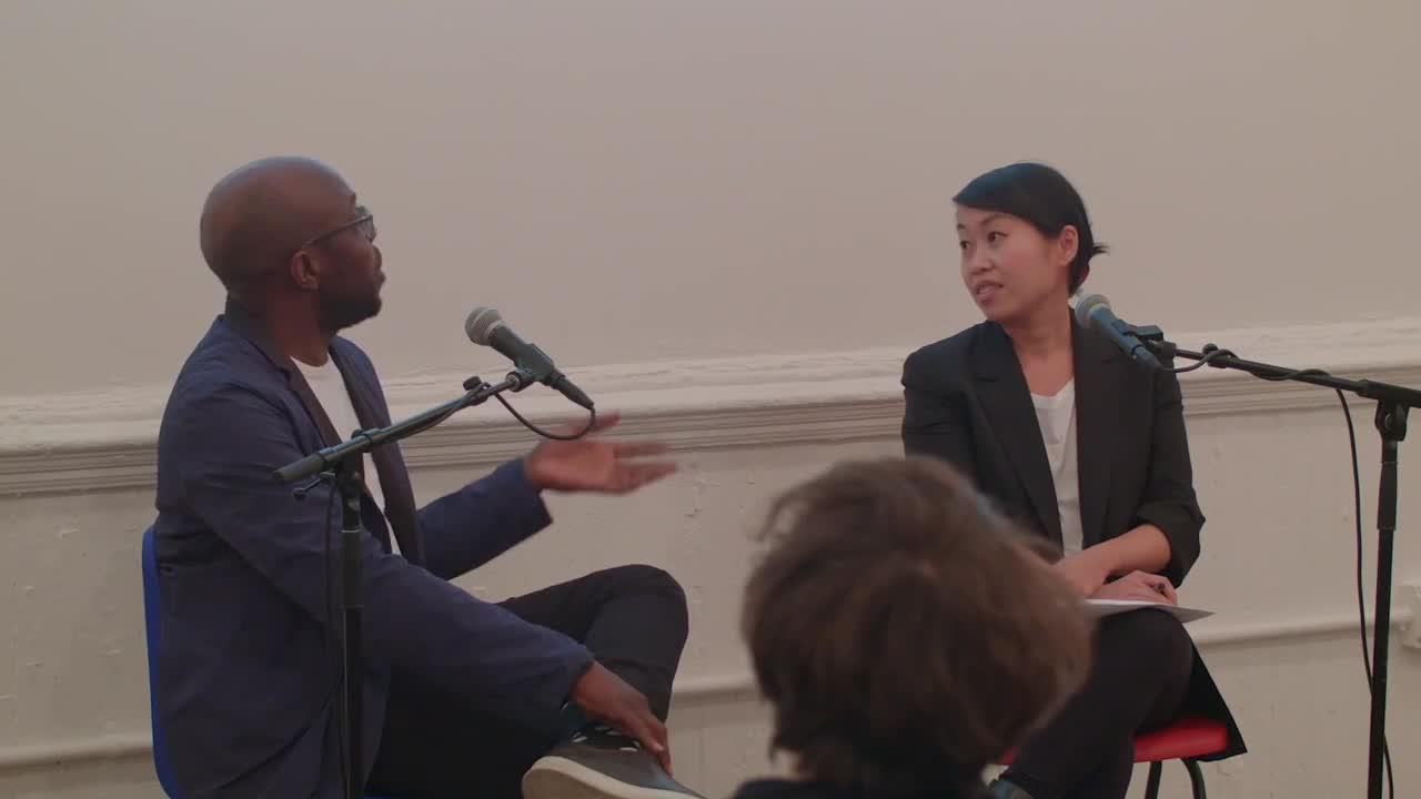 Video documentation of Copeland and Kuo in conversation at Artists Space