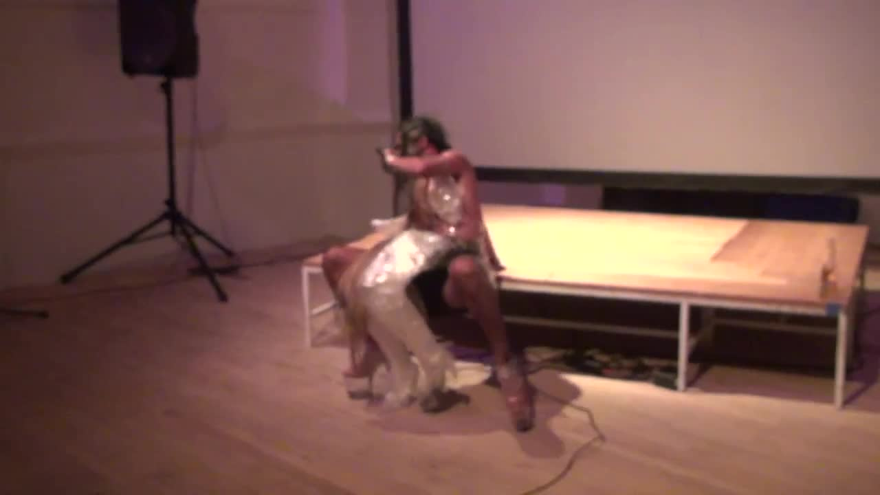 Video documentation of a performance by Raul De Nieves.